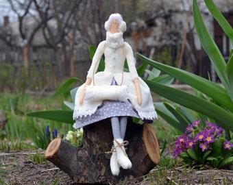Tilda doll Winter Angel Christmas doll, hand-made interior textile doll.