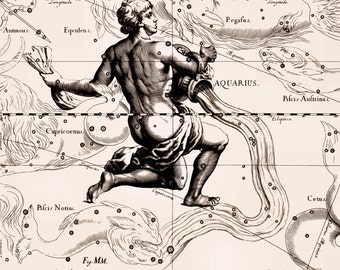 Zodiac, Sign of the zodiac, Constellation, Constellation print, Constellation of Aquarius, 09