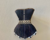 Black Corset Brooch Pin Jewelry Gift