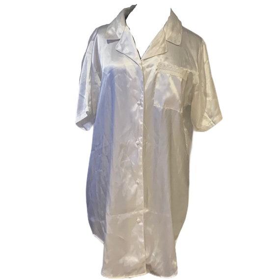 Vintage Satin pajama top nightgown M