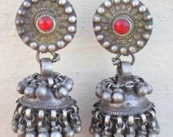 Vintage Antique Tribal Old Silver Earring Earplug Pair