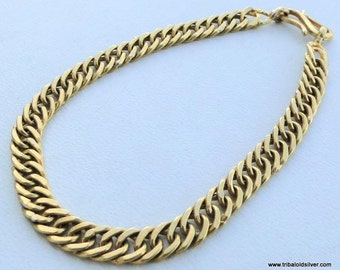 Vintage Antique Solid 22 Carat Gold Handmade Link Chain Bracelet Bangle