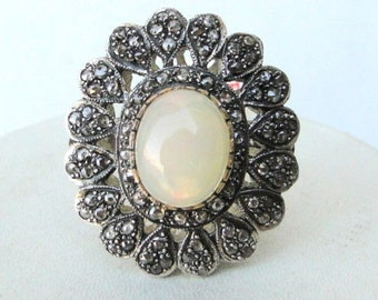 Victorian Diamond Natural Opal Gold Silver Ring India