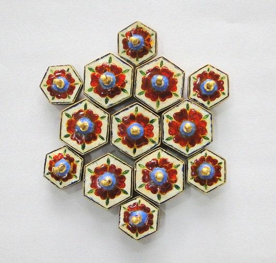 Vintage antique 20k Gold Diamond polki kundan ena… - image 3