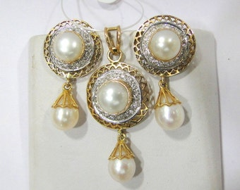 14k Solid Gold Pearl Diamond Gemstone Pendant & Stud Earring Pair