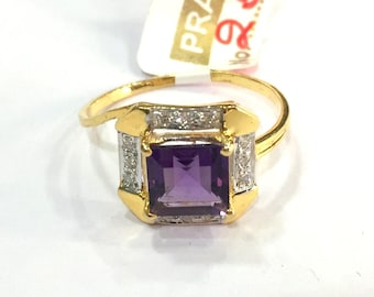 14K Solid Gold jewelry Natural Amethyst & Diamond Gemstone Ring India