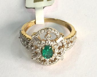 14K Solid Gold Jewelry Natural Emerald & Diamond Gemstone Ring India