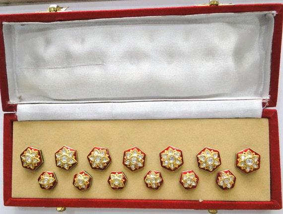 Vintage antique 20k Gold Diamond polki kundan ena… - image 2