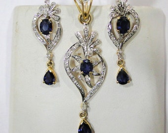 14k Solid Gold Blue Sapphire and Diamond Gemstone Pendant & Stud Earring Pair