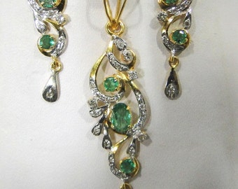 18k Solid Gold Natural Emerald and Diamond Gemstone Pendant & Stud Earring Pair