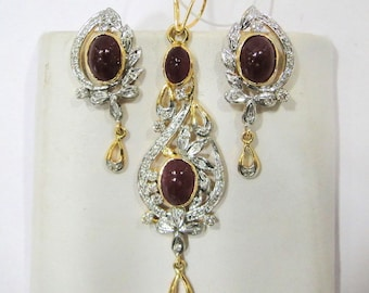 14k Solid Gold Natural Ruby Diamond Gemstone Pendant and Stud Earring Pair