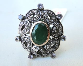 Victorian Diamond Natural Emerald Gold Silver Ring India
