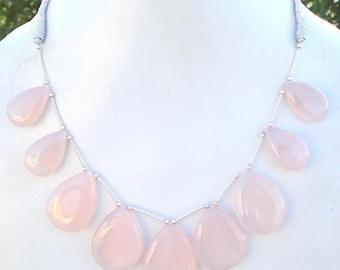 Vintage 229 Ct Rose Quartz Gem Stone Tear Drop Necklace