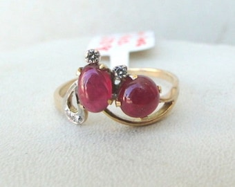14 K Solid Gold Ruby & Diamond Gemstone Ring India