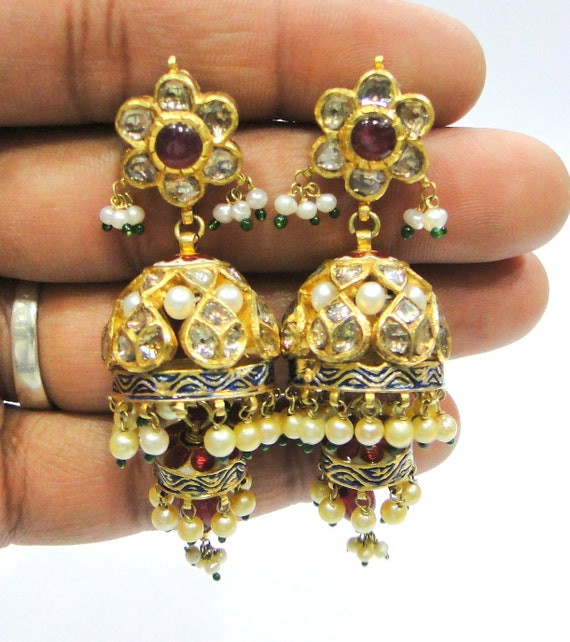 Vintage Solid 22k Gold Ruby Gemstone Necklace Earring: Vintage Antique Solid 20K Gold Jewelry Diamond Polki Ruby