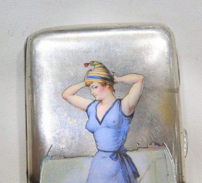 Rare Vintage Antique Sterling Silver Kitsch Art Cigarette image 0