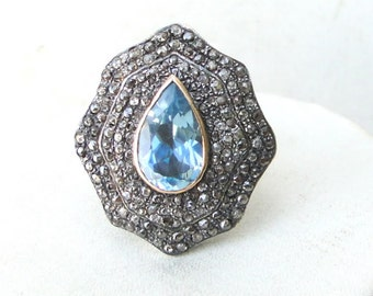 Victorian Diamond Blue Topaz Gold Silver Ring India