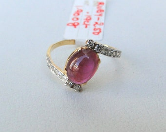 14k Solid Gold Ruby & Diamond Gemstone Ring India
