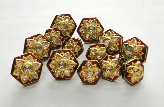 Vintage antique 20k Gold Diamond polki kundan ena… - image 1
