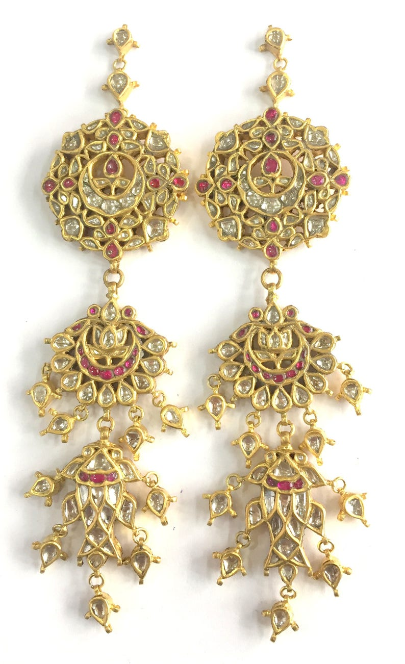b62ea126104d6 Vintage antique 22k Gold jewelry Diamond polki Ruby Earring Pair india