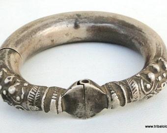 Antique Tribal Old Silver Bracelet Bangle Rajasthan India
