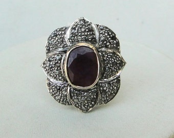 Victorian Diamond Natural Ruby Gold Silver Ring India