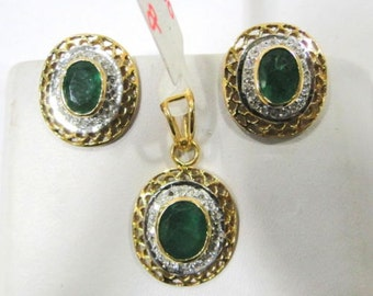 14k Solid Gold Natural Emerald Diamond Gemstone Pendant & Stud Earring Pair