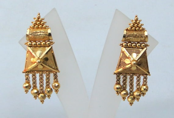 Vintage Antique Solid 22 Carat Gold Stud Earring Pair Tamil Etsy