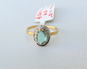 14k Solid Gold Natural Emerald & Diamond Gemstone Ring India