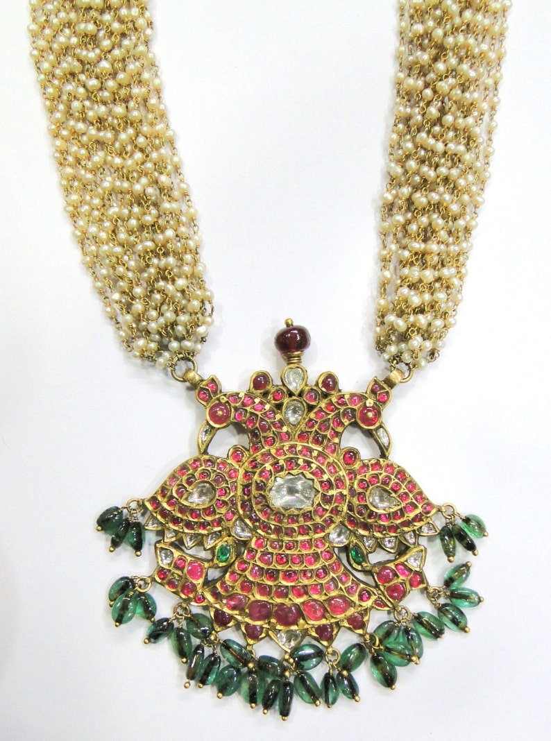 869ef3711ea336 Vintage antique solid 22K Gold jewelry Diamond polki Ruby | Etsy