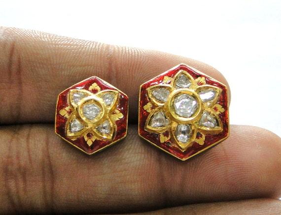 Vintage antique 20k Gold Diamond polki kundan ena… - image 4