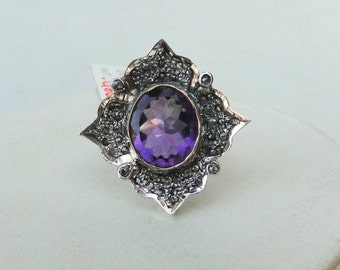 Victorian Diamond Natural Amethyst Gold Silver Ring India