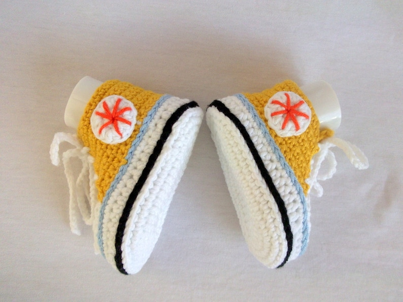 489d9b200a2d7 Yellow White Crocheted Converse Style Yellow and White Baby  Booties-Converse Style Booties-Bootees-Shoes