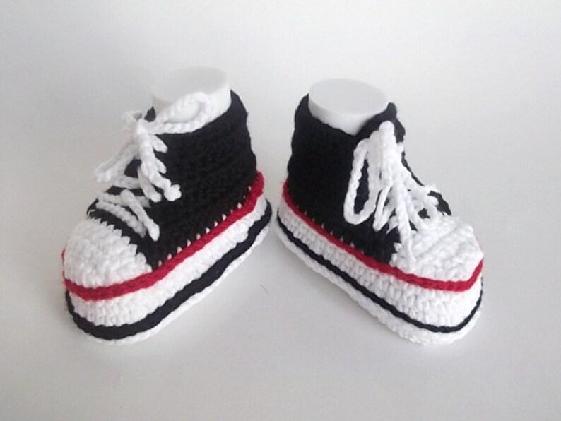 2029bf817b2e8 Black White Crocheted Converse Style Blackand White Baby Booties-Converse  Style Booties-Bootees-Shoes