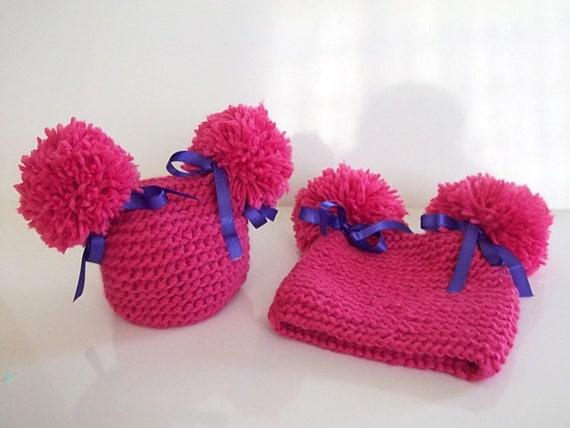 Fucsia doppio Fluff bambino cappelli-doppio pompon neonato  ec68d692e1ad