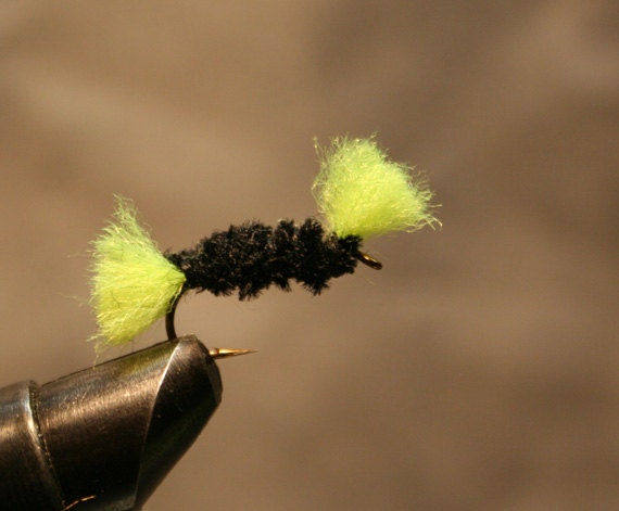 Fly Fishing - Black and Chartruese Indicator or Stimulator - Hand-tied  Michigan Fly Fishing Flies - Number 10 Hook - Bass Trout Bluegill