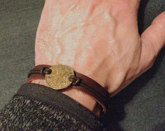 Canadian Victory Nickel Leather Bracelet