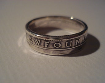 Newfoundland 25 Cent Coin Ring, made to order, sizes 5 to 8