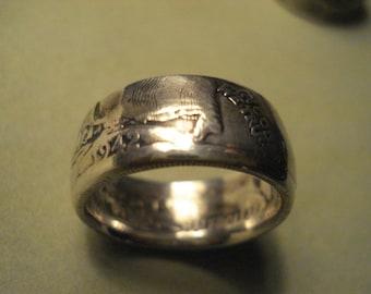 1942 Walking Liberty 50c Coin Ring