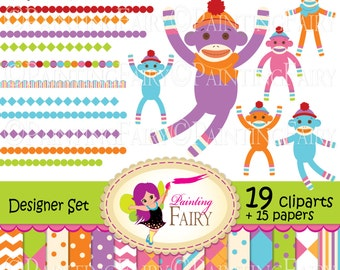 Socks Monkeys Digital clip art set scarfs crochet tasseled cap chevron elements Own Original Clipart Graphics /& Digital Papers DIY pf00040-6