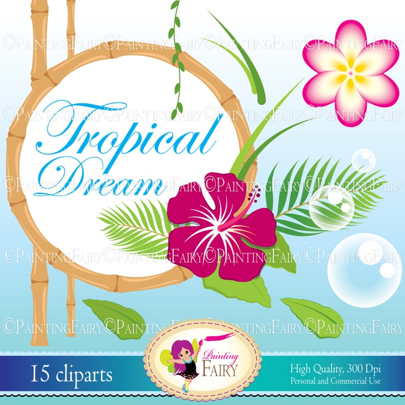 Digital Clip Art Tropical Dream cute Hibiscus flowers Plumeria Paradise  Island Plant Palm Personal Commercial Use INSTANT DOWNLOAD pf00059-3