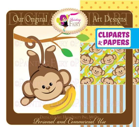 Clipart Buy 2 Get 1 Free Lovely Cute Boy Monkeys Bananas Zoo Etsy