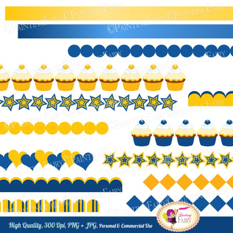 Digital Borders Scalloped Blue yellow Fun Clipart Embellishments Scrapbooking Elements party images Personal /& Commercial Use pf00064-1ib