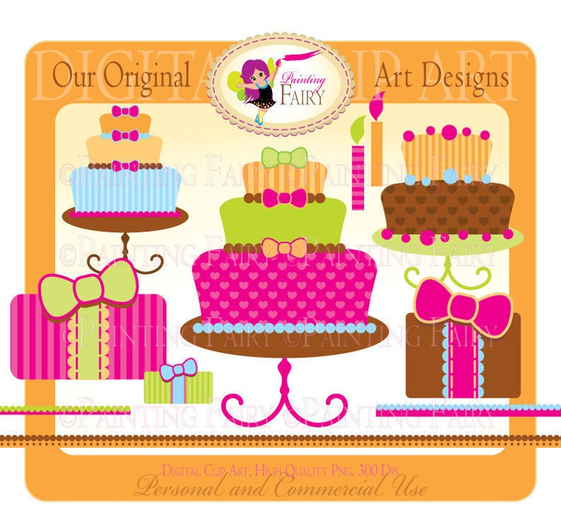 Clipart Buy 2 Get 1 Free Happy Birthday Pink Cake Clip Art Girls Colors Designer Elements Digital Images Personal Commercial Use Pf00004 2