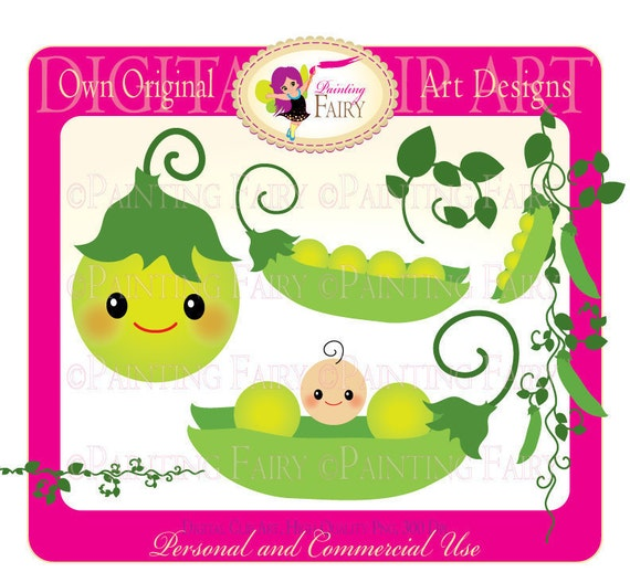 Clipart Buy 2 Get 1 Free Cute New Baby Peas Clip Art Etsy