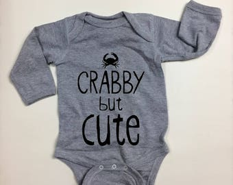 187234b09 Long or short sleeve romper. baby announcement baby shower gift. Crab.  Maryland.East coast West coast. Beach.Baby Clothes