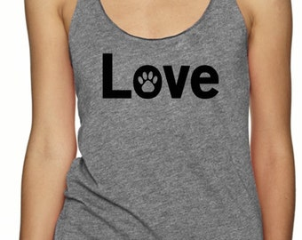 Cat Dog Love Paw Triblend Vegan Tank, cats, dogs paw print Vegan, Racerback Vegans Tri Blend Level Apparel Animal Tank, Animal Rights lover