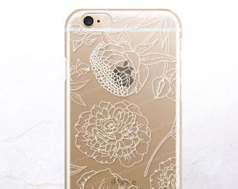 iPhone 8 Case iPhone X Case iPhone 7 Case White Peonies Clear GRIP Rubber Case iPhone 7 Plus Clear Case iPhone SE Case Samsung S8 Case U34
