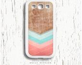 SAMSUNG Galaxy S4 Case, Chevron Galaxy S3 Case, Samsung Galaxy S4 Wood Print, Case Chevron, Case Chevron Faux Wood Geometric Teal Case I97