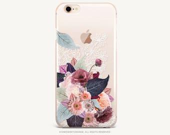 iPhone 8 Case iPhone X Case iPhone 7 Case Fall Floral Clear GRIP Rubber Case iPhone 7 Plus Clear Case iPhone SE Case Samsung S8 Case U232